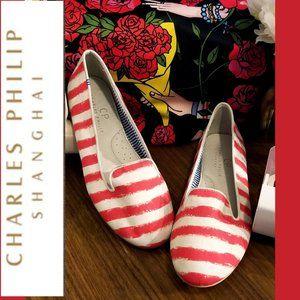 CHARLES PHILIP -Pink/White Striped Smoking Shoe -7
